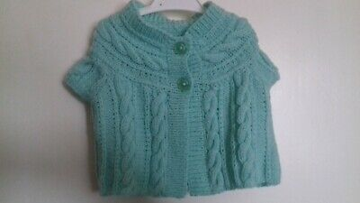 Hand Knitted Baby Girl Pale Green Sleeveless Cardigan / Waistcoat -Age 6-9 Month
