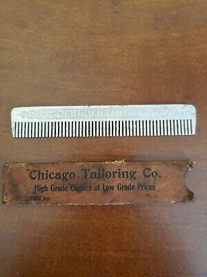 RARE 1900's CHICAGO TAILORING CO Vintage Ornate Advertising COMB Sheath Case