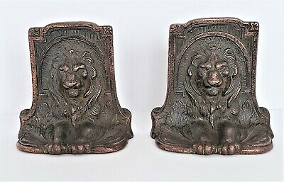 Antique ART DECO Solid Bronze Regal Lion Bookends Circa 1925 Father's Day READY