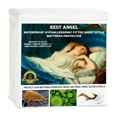 Fitted Sheet Style Mattress Protector, Cover, Terry Cotton, Waterproof, QUEEN