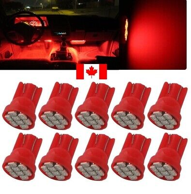 10X Red Xenon LED T10 8SMD/5050/194Bulbs Light 68 W5W license Plate Short Base