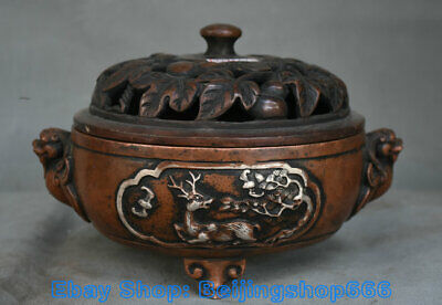 """8.4"""" Marked Ancient China Copper Silver Dynasty Beast Ears Deer incense burner"""