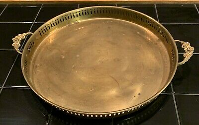 Vintage Large Brass Round Gallery Vanity Barware Serving Tray with Handles