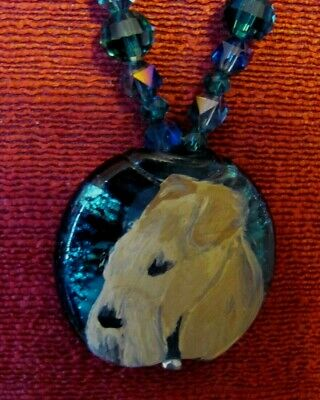Lakeland Terrier hand-painted on round pendant/bead/necklace