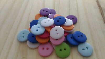 Lot 25 boutons 15 mm multicolore 2 trous couture mercerie scrapbooking neuf