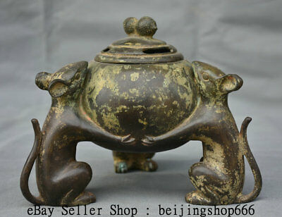 """8"""" Marked Old Chinese Pure Bronze Dynasty 3 Mouse Mice Incense Burner Censer"""