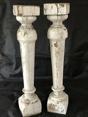2 Antique Turned Wood Porch Spindles Baluster White Chippy Paint Wood Primitive