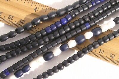 Antique Matte Black & White Glass Beads African Trade Czech Bohemian Carnival