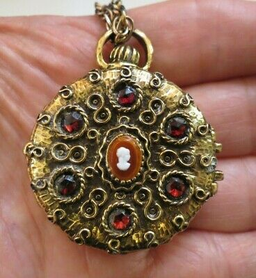 Vintage Glace Cameo Pendant Necklace Gold Plated Red Rhinestones Solid Perfume