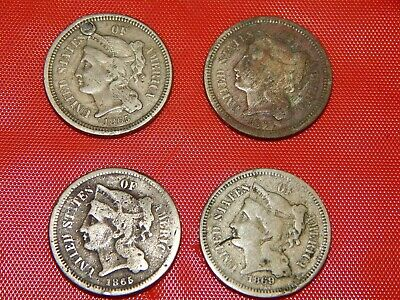Nice Lot Of Three Cent Nickels -  3Cn Nicer Condition 4 Coins Total
