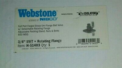 """Webstone H-51403, 3/4""""Xswt, Flanged 3-Way Brass Rotating Ball Valve, Free Ship"""