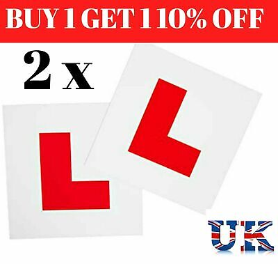 2 x MAGNETIC L PLATES SECURE Quick Easy To Fix Learner Sign UK