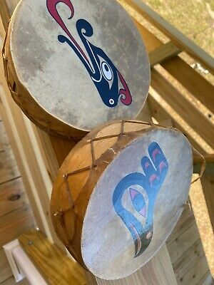 Northwest Coast Vintage Native Drums Signed