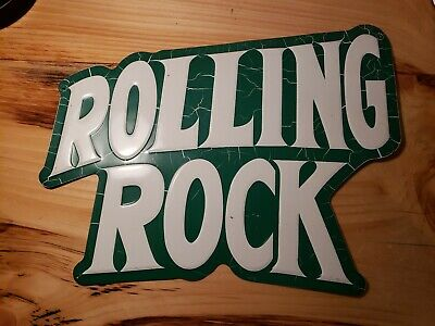 Vintage White and Green Rolling Rock Beer Advertising Tin Sign Beer Sign
