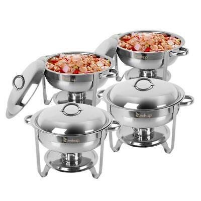 4-Pack Round Chafing Dish Buffet Chafer Warmer Set 5 Quart Portable Cost-Effecti