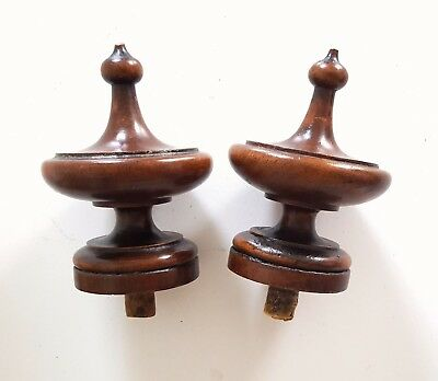 2 Antique wood post finial end cap topper French salvaged furniture 4.41""
