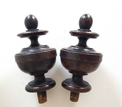 2 Antique French turned wood post finial end cap Salvaged furniture topper 4.8""