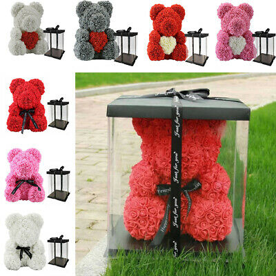 25/40cm Romantic Rose Teddy Bear Foam Rose Flower Gift Birthday Wedding w/ BOX