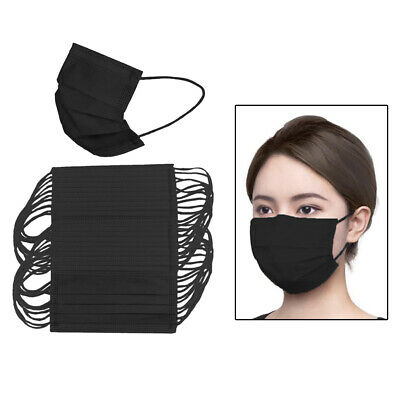 50Pcs Adults Disposable Face Mask Protective Nose Anti Dust Fog Face Cover Black