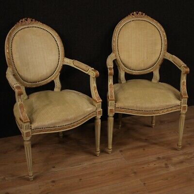 Pair Of Armchairs Furniture Chairs Wooden Lacquered Gold Antique Style Louis XVI