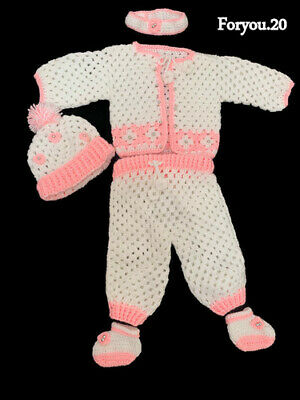 Baby Reborn Outfit Handmade Crochet Hand Knitted, Special, Unique, White & Pink