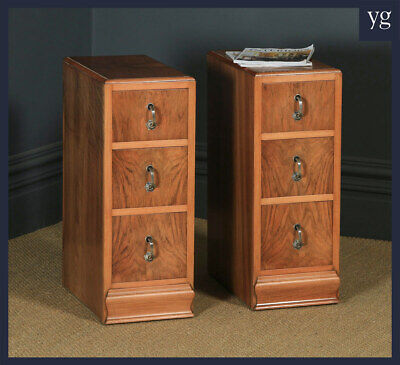 Antique English Pair of Art Deco Figured Walnut Bedside Chests Cabinets Tables