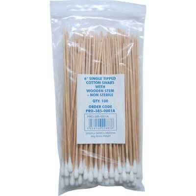 "Workshop 6"" Single Head Cotton Swabs Wooden N/sterile (100)"