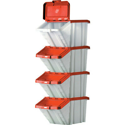 Multi-Functional Containers Red Lids 50L Pk4