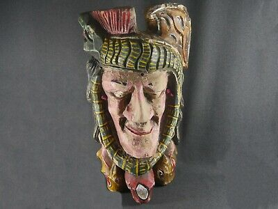 Vintage carnival fair carved wooden native american indian head hand painted