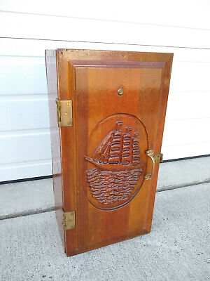 Vintage Ship Phone Cupboard Carved w/ Peephole Brass Hardware Medicine Cabinet