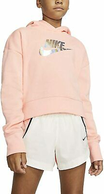 Nike Girls Trefoil Cropped Hoodie Junior XS 122 - 128 cm Bleached Coral Pink New