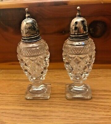"""Antique Cut-Crystal Salt & Pepper Shakers W/Sterling Silver Caps - 4"""" Tall"""