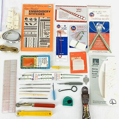 Vintage Sewing Crochet Needlepoint Knitting Tools Hooks Lot Accessories Boye