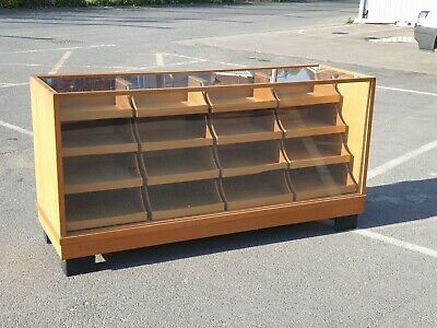 Vintage Large 16 Drawer Haberdashery Glazed Shop Counter / Cabinet