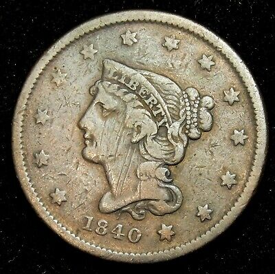 1840 Small Date Braided Hair Large Cent - VG !!