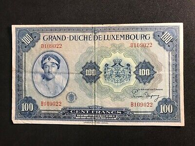 Luxembourg 100 Francs 1944 Banknote Fine