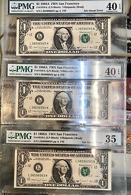1988 $1 Dollar Bill Ink Smear Error- Consecutive Number !!!  PMG Lot of 3 Notes