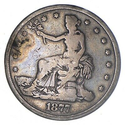 Authentic United States - TRADE Dollar - 1877-S - Silver Dollar - RARE *666
