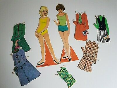 Edith and Charlotte Paper Doll Set Vintage Lot