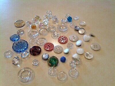 LARGE LOT OF 58 Antique & Vintage Glass CLOTHING BUTTONS OLD