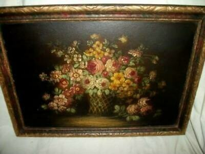 ANTIQUE FLOWER BASKET ROSES OIL PAINTING VICTORIAN EARLY 1900's STUNNING