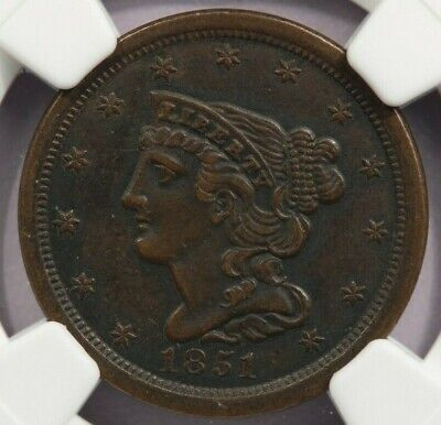 1851 Braided Hair Half Cent NGC AU53 Beautiful looking coin!