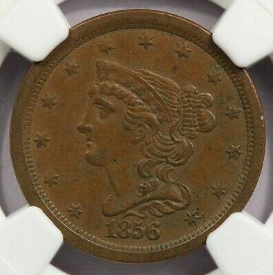 1856 Braided Hair Half Cent NGC AU58