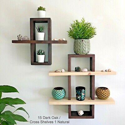 3D Rectangle Floating Shelf, Rustic Wood Wall Decor with Brackets