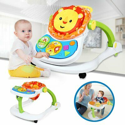 4 In 1 Multi Function Baby Walker Push Music PLay&Feed Station With Light UK