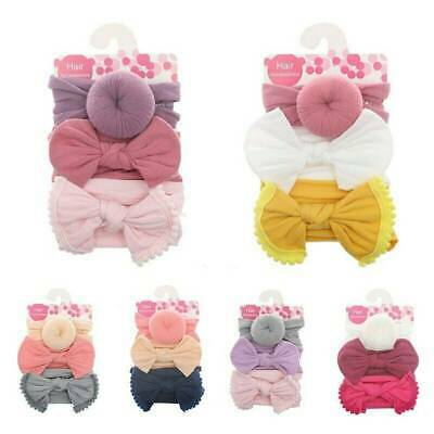 Kid Baby Girls Toddler Bow Hair band Headband Stretch Turban Knot Head Wrap*3Pc