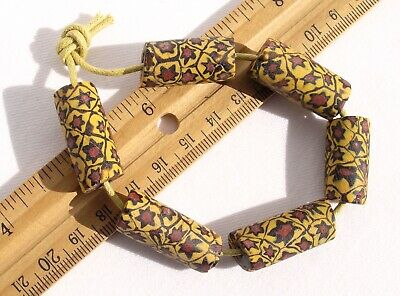 Antique Yellow w/ Red Star Millefiori African Trade Beads Venetian Glass