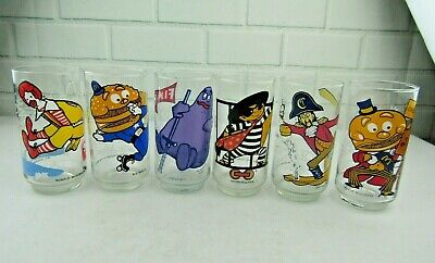 Vintage McDonald Land Action Series 1977 All Six Collectible Glasses Cups