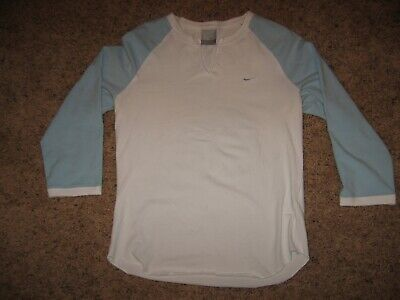 Nike Girls White & Powder Blue Top 3/4 Length Sleeve Shirt Juniors Size S