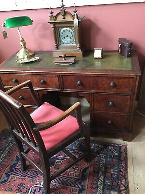 Fabulous Narrow Oak Desk with 6 Drawers & Green Leather Skiver